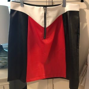 Red, white and black color block leather mini